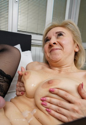 Granny with cum on her tits